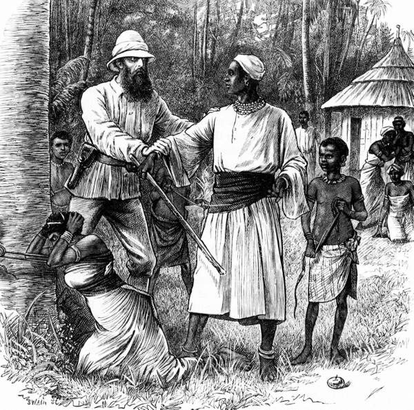 An early illustration depicting John Hanning Speke restraining the hand of Mutesa I, the reigning