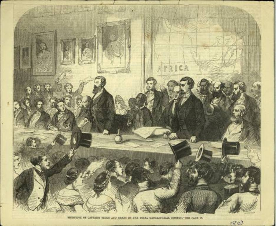 An engraving of Speke and James Augustus Grant addressing the members of the Royal Geographical Society after their triumphant return to London in 1863