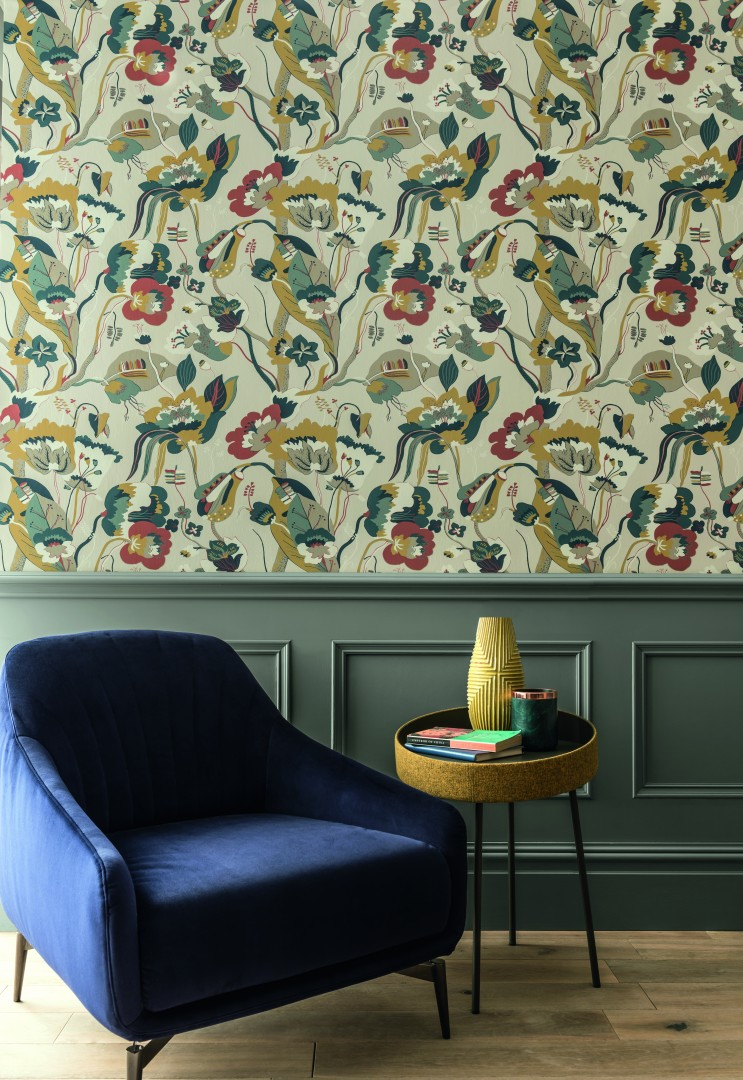 Function and style in a rural home GP J Baker wood panelling and wallpaper