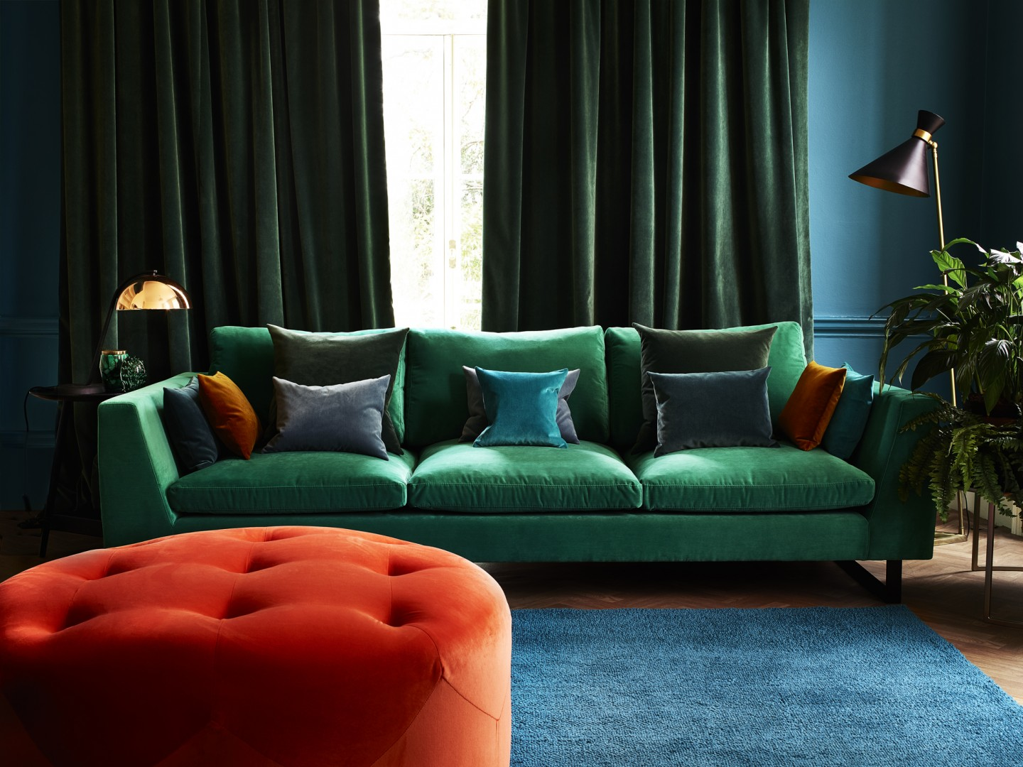 Bespoke Upholstery making a statement Emerald and Teal sofa