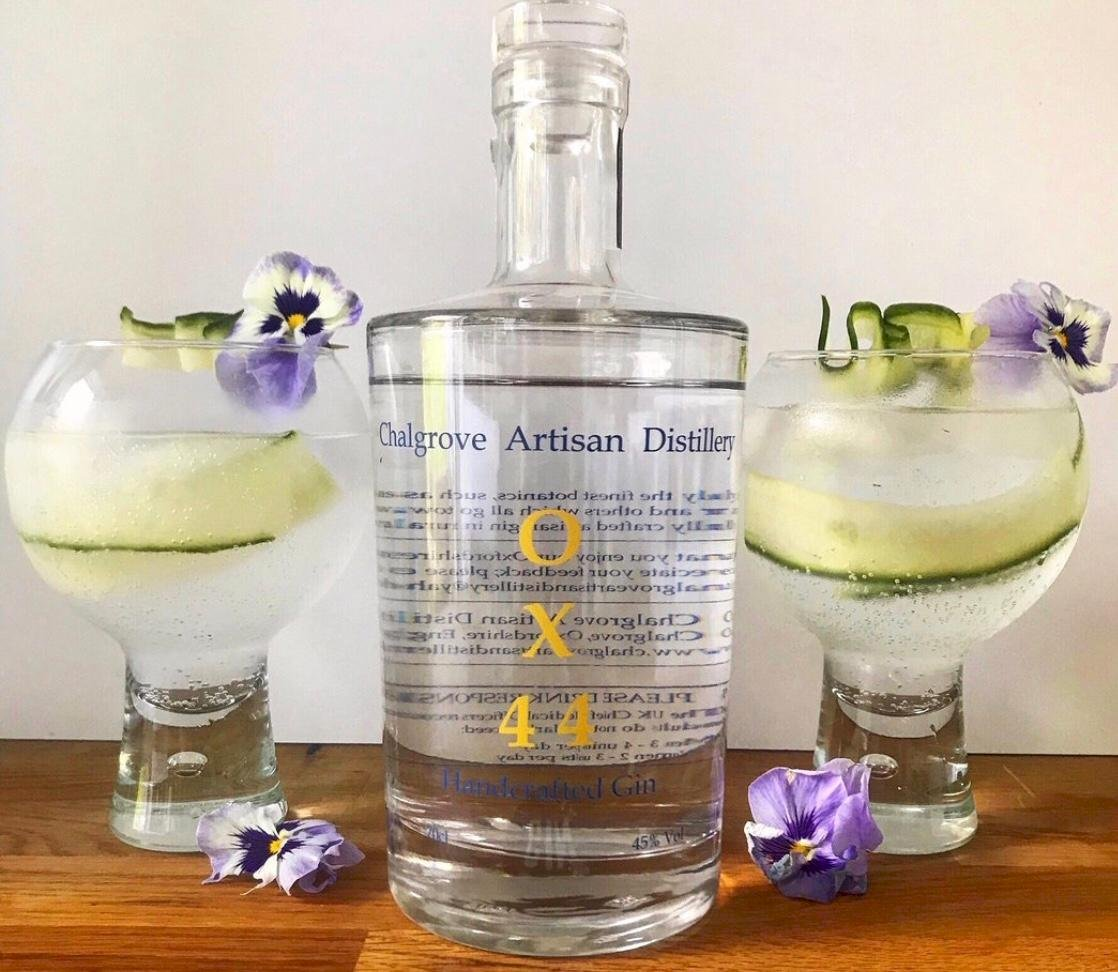 Mother's Ruin Chalgrove Artisan Distillery bottle with 2 glasses