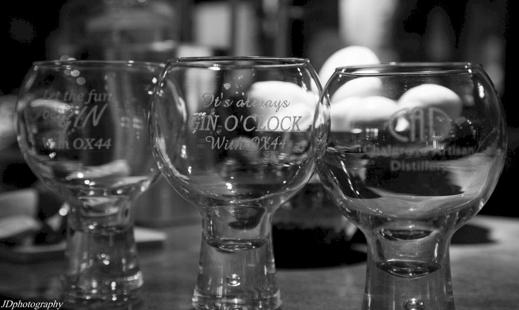 Mother's Ruin Chalgrove Artisan Distillery glasses black white