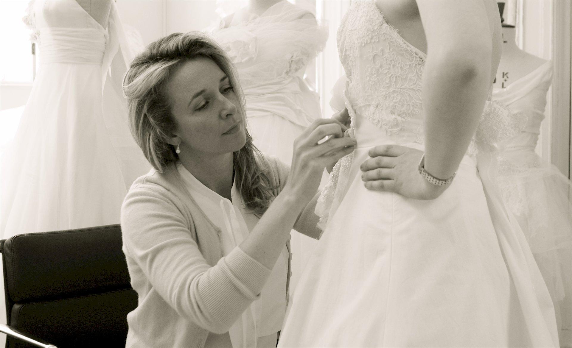Designer Spotlight Phillipa Lepley fitting bride side