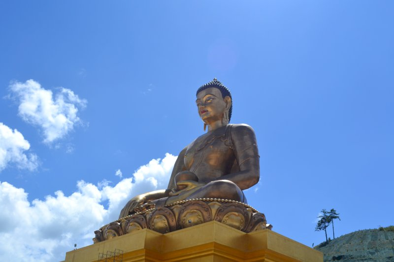 Bhutan Kingdom of the Sky Buddha from below