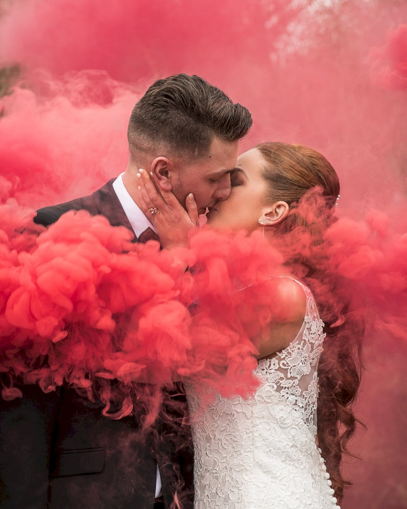 The Autumn Wedding Luxe List Smoke Bomb Millie and Andrew