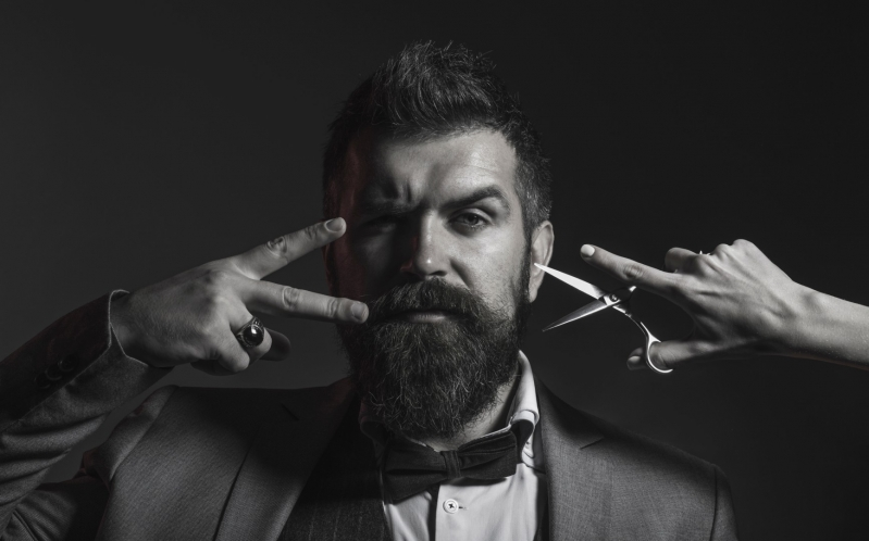 The Big Bang June Bearded Man and Scissors Posing Black and White