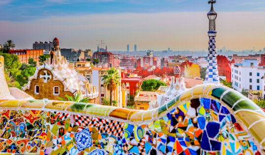 Where the grass is greener Gaudi Park guell colors in Barcelona