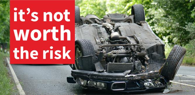 #ItsNotWorthTheRisk Car Overturned Main Image
