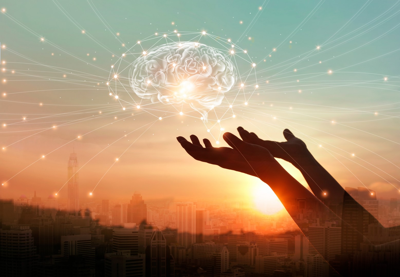 Six Science Superstars Palms Reaching To Brain With Light and Network Connections Science