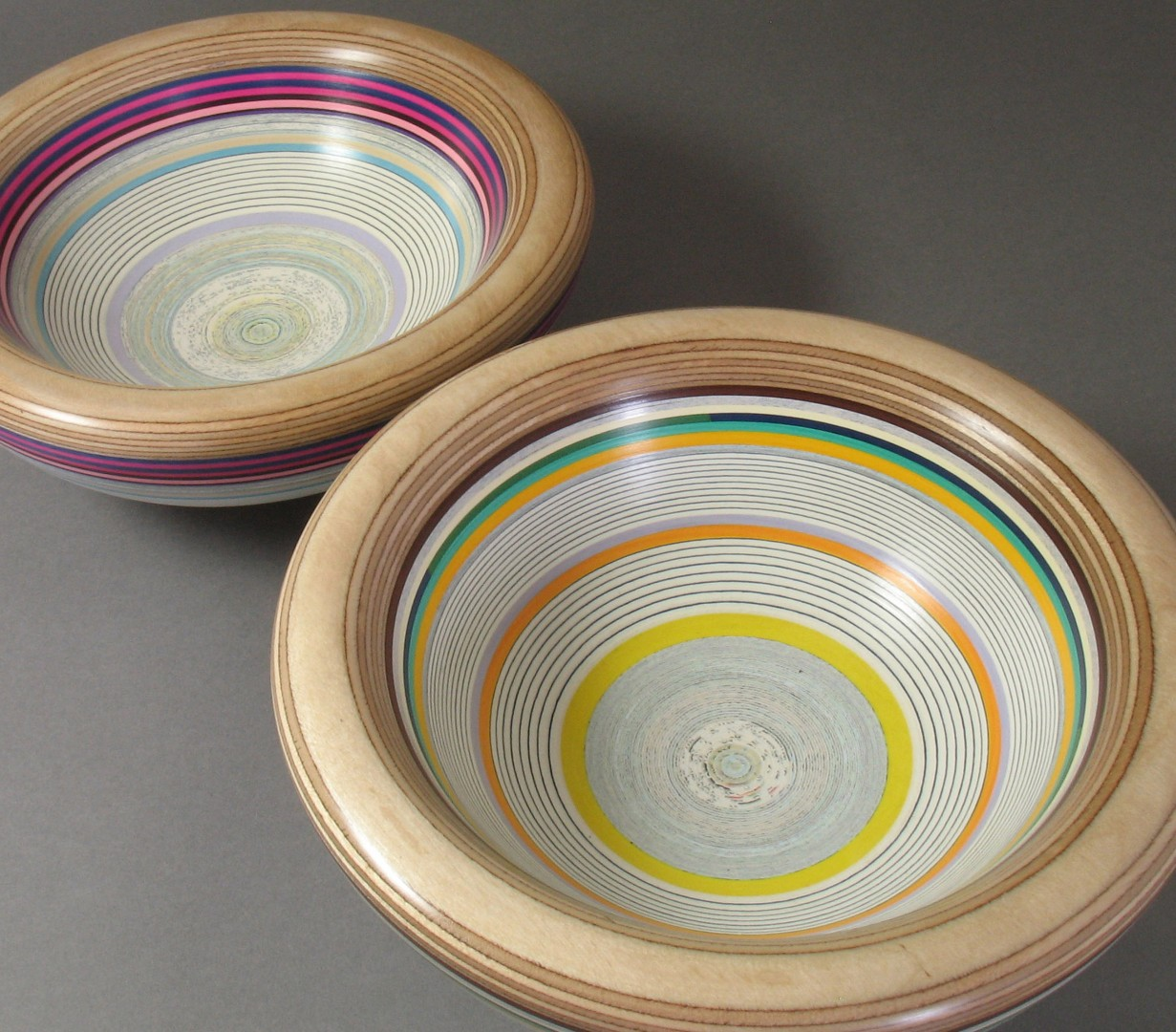 Colourful Countdown to Christmas Graham Lester Upcycled paper plywood bowls