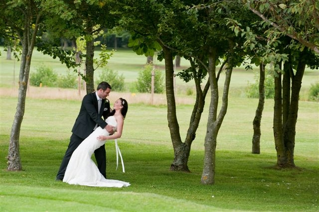 Bicester Hotel Wedding couple on golf course