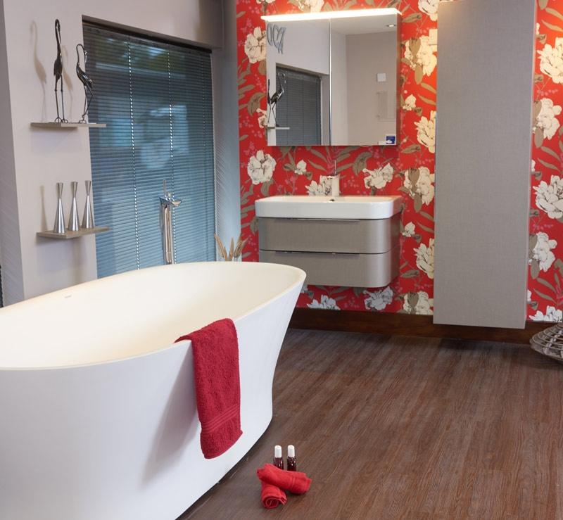 John Nicholls red pattern bathroom