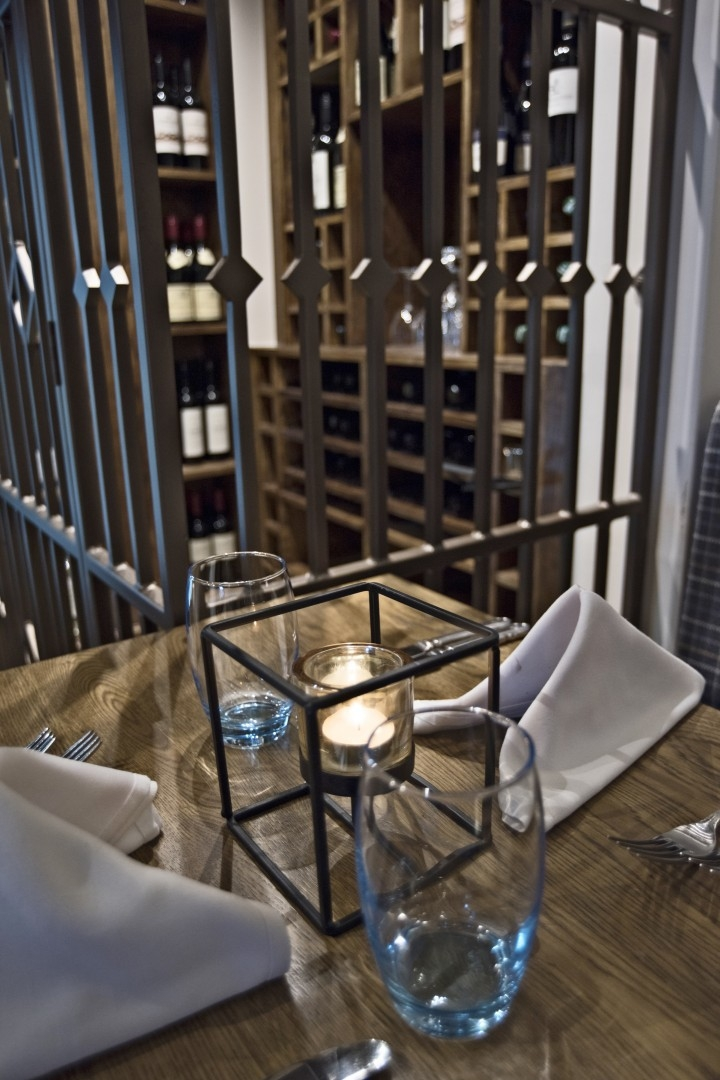 The George Hotel Wallingford table by wine cellar