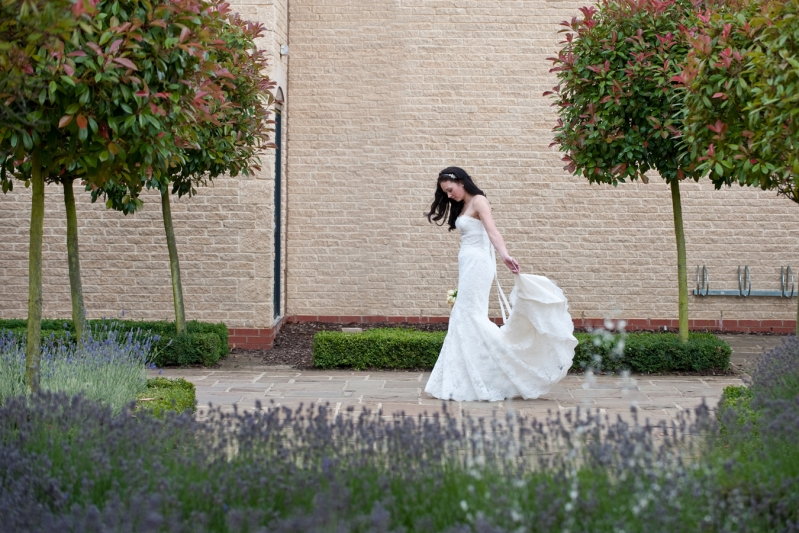 Bicester Hotel Wedding bride outside front reception