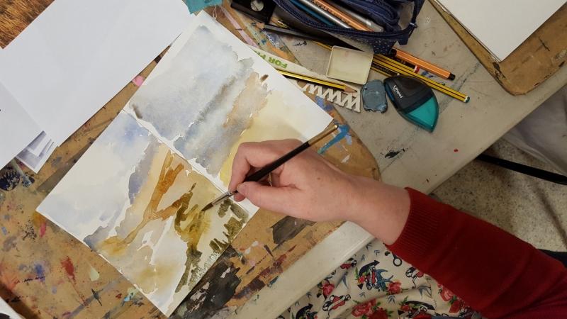 The Mill Arts Centre Watercolour Layered Landscape
