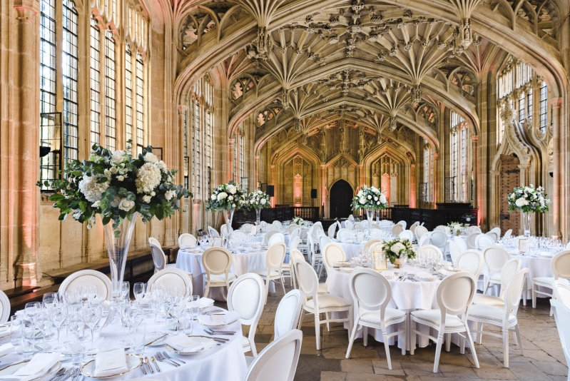 The Bodleian Libraries Wedding venue party tables and interior features