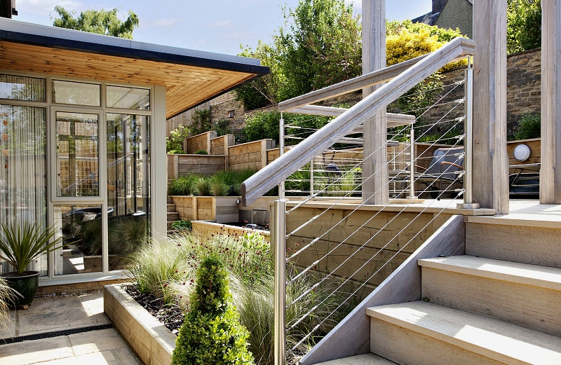 Susan Dunstall Steeply Sloping Garden with Decked Terraces
