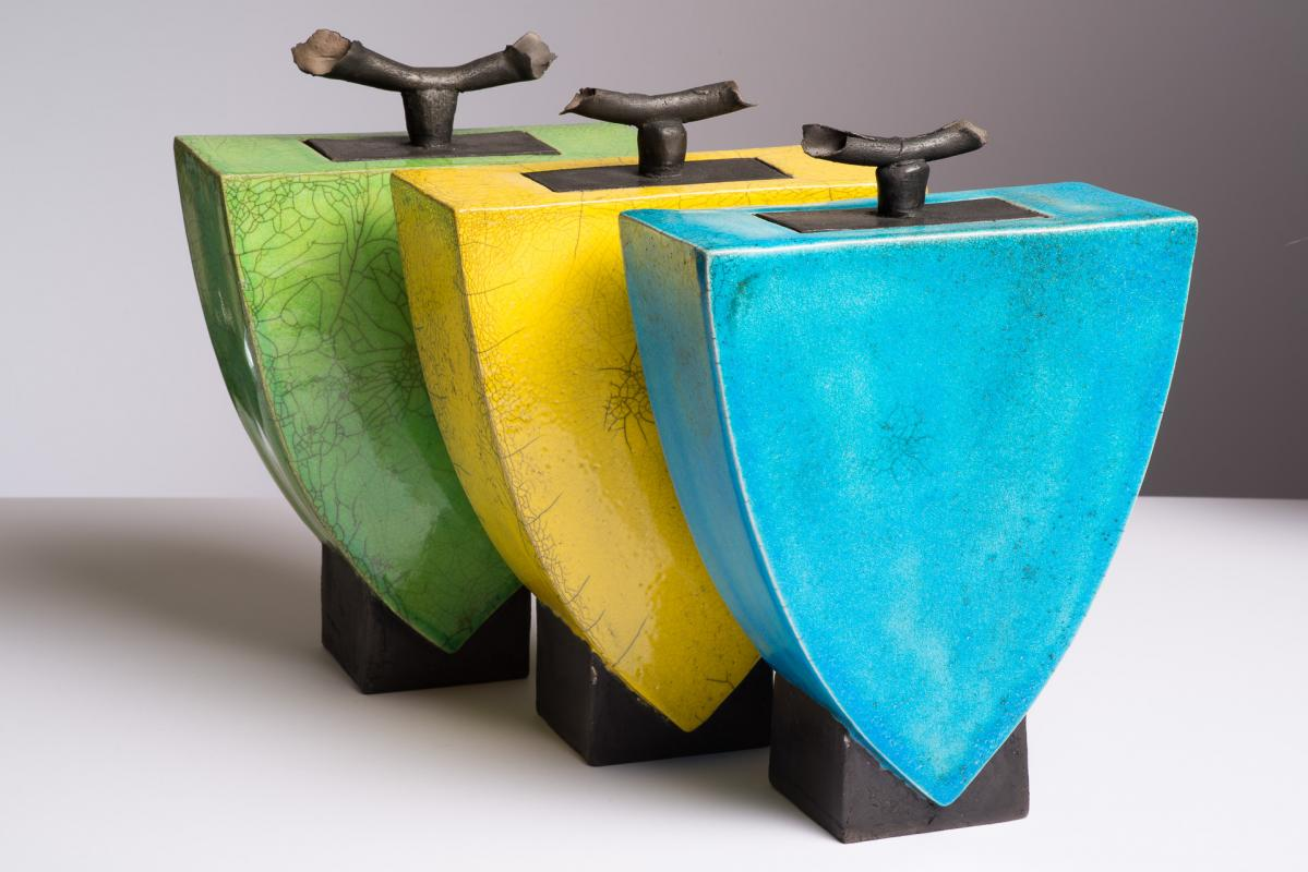 Shaping the Earth Lidded Pots Yellow Green Blue Ian Fraser
