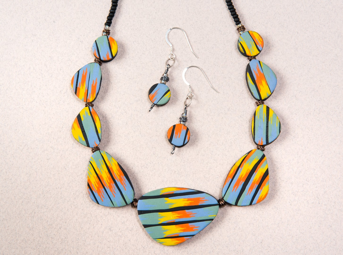 Colourful Countdown to Christmas Sara Withers Flat Polymer necklace and earrings